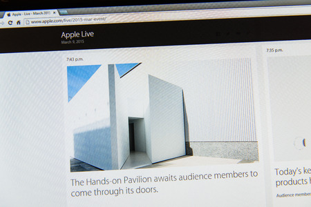 PARIS, FRANCE - MAR 9, 2015: Apple Computers event keynote tweets close up seen on iMac display with Hands-On Pavilion ready to see the watch as seen on 9 March, 2015