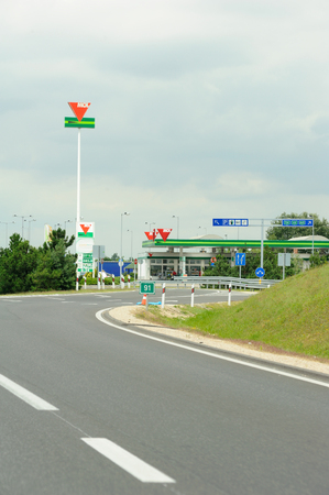 HUNGARY - JULY 04, 2011: MOL Group petrol station on highway near Budapest. Mol means Magyar Olaj- es Gazipari Nyilvanosan mukodo Reszvenytarsasag, Hungarian Oil and Gas Public Limited Company, MOL derived from Magyar Olaj, meaning Hungarian Oil