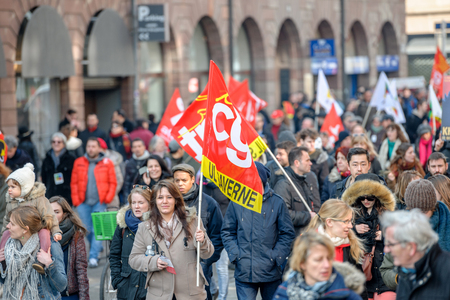 STRASBOURG, FRANCE - 9 MAR 2016:  as thousands of people demonstrate as part of nationwide day of protest against proposed labor reforms by Socialist Government