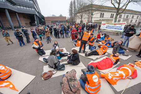 STRASBOURG, FRANCE - MAR 15, 2016: Confederation francaise democratique du travail die in protests against Bas-Rhin Alsace departmental budget cuts for 2016, requesting no cuts and wage increase