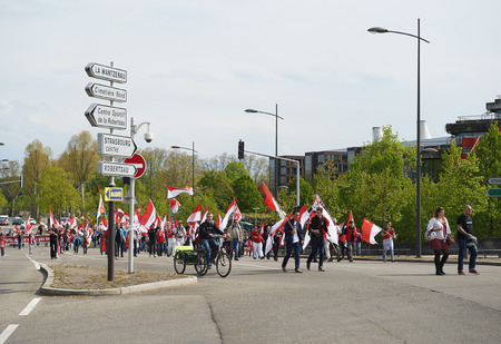 STRASBOURG, FRANCE - APR 30, 2016: Closed street near ECHR as crowd protest against government regional reform for the fusion of the Alsace region with Lorraine and Champagne-Ardenne