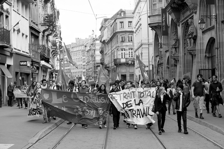 STRASBOURG, FRANCE - MAY 19, 2016: Protesters blocking tramway lines in the center of Strasbourg during a demonstrations against proposed French government's labor and employment law reform