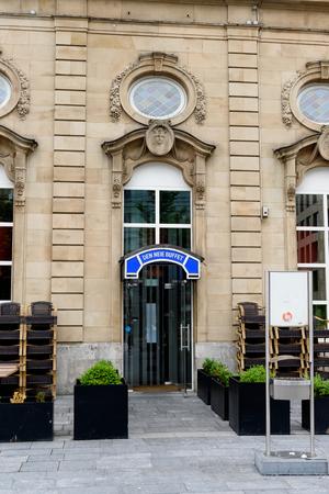 LUXEMBOURG, LUXEMBOURG - JUNE 5, 2016: Den Neie Buffet - The buffet of the train station main entrance in the building of Central Train Station of Luxembourg on 13 pl. de la Gare,