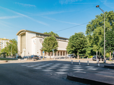STRASBOURG, FRANCE - MAY 25, 2017: Grande synagogue de la Paix in Contades Park - the biggest synagogue in Strasbourg and Bas-Rhin Alsace being protected by police van and multiple surveillance camera