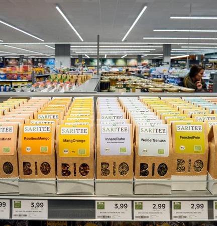 FRANKFURT, GERMANY - NOV 25, 2017: German supermarket traditional bio organic tea with large BIO inscription