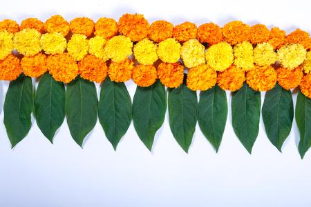 Foto de Marigold Flower rangoli Design for Diwali Festival , Indian Festival flower decoration - Imagen libre de derechos
