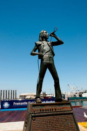 FREMANTLE, AUSTRALIA - October 26, 2016: Bronze statue of Bon Scott;  ex lead singer of AC/DC