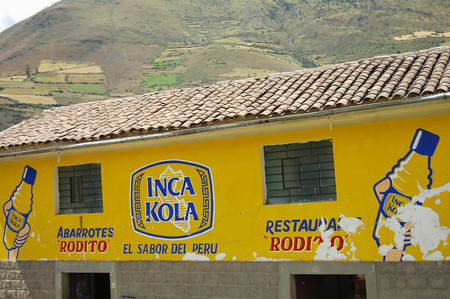 Photo pour CUZCO, PERU - May 1, 2009: Inca Kola brand is a soft drink that was created in Peru in 1935 by a British immigrant - image libre de droit