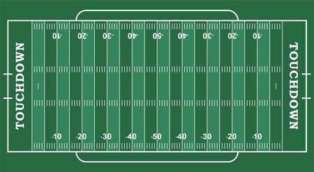 Illustration pour American football field with marking. Football field in top view with white markup - image libre de droit