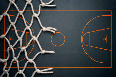 Photo pour Basketball banner background. Dark basketball background with copy space. - image libre de droit