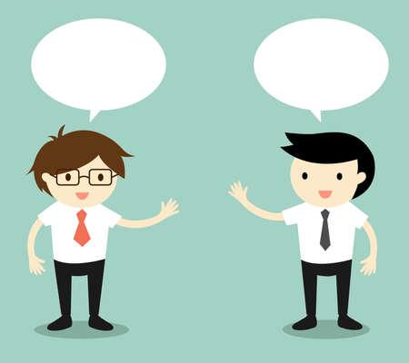 Illustration pour Business concept, two businessmen talking. Vector illustration. - image libre de droit