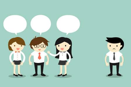 Illustration pour Business concept, two business women talking with businessman, but another business man standing alone. Vector illustration. - image libre de droit