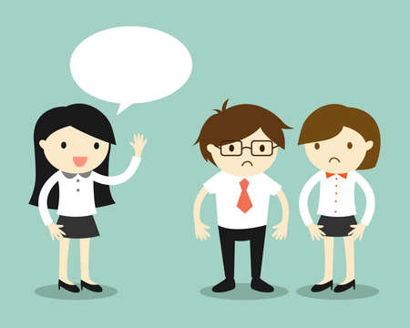 Illustration for Business concept, business women talking but her coworkers feeling awkward. Vector illustration. - Royalty Free Image