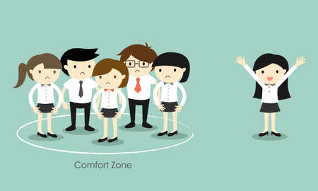Business concept, Business woman standing out of the comfort zone. Vector illustration