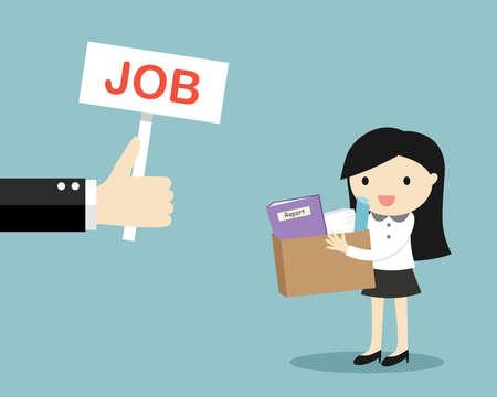 Illustration pour Business concept, Hand offers job to business woman. Vector illustration. - image libre de droit