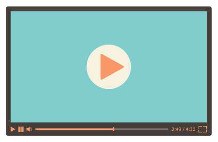 Illustration pour Video player for web in retro style. Vector illustration - image libre de droit