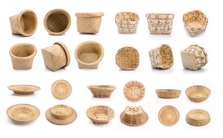 Wooden wicker basket set on white background