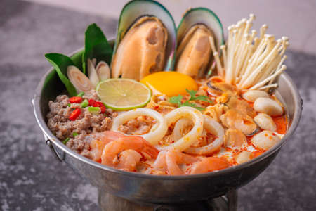 Photo for Tom yum kung. Thai food style Seafood Hot Pot. Traditional Thai style food. - Royalty Free Image