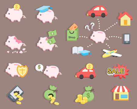 flat design - Piggy bank saving money