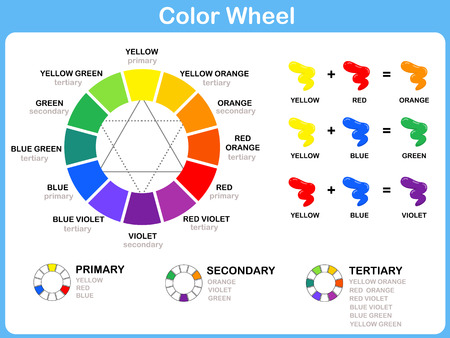 Illustration for Color Wheel Worksheet - Red Blue Yellow color : for kids - Royalty Free Image