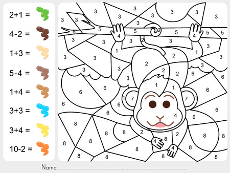 Paint color by numbers - Worksheet for education