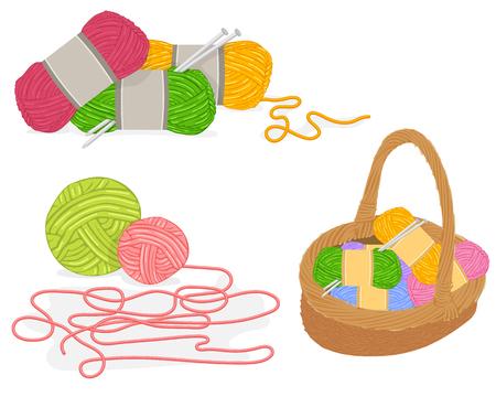 Foto de Vector of a Wicker Basket Full of Knitting Materials - Imagen libre de derechos