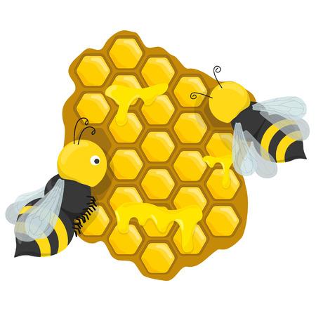 Foto de honeycombs with honey bees - Imagen libre de derechos