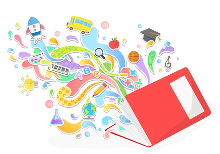 Illustration pour Vector education and leaning concept - abstract with icons and signs - image libre de droit