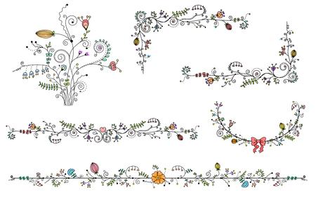 Ilustración de Vector set of decorative elements, Black border and color flower - Imagen libre de derechos