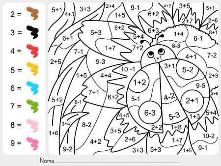 Paint color by numbers - addition and subtraction worksheet for education