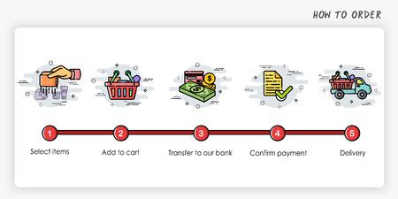 Illustration pour Order process concept.  Modern and simplified vector illustration. - image libre de droit