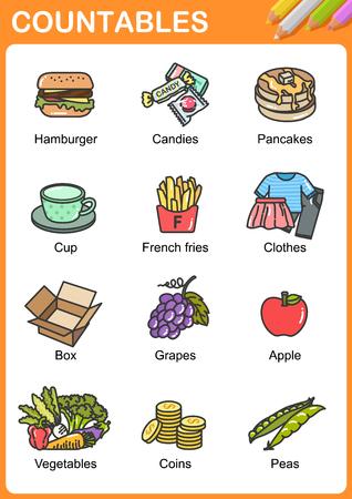 Illustration pour Nouns the can be  countable - Worksheet for education. - image libre de droit