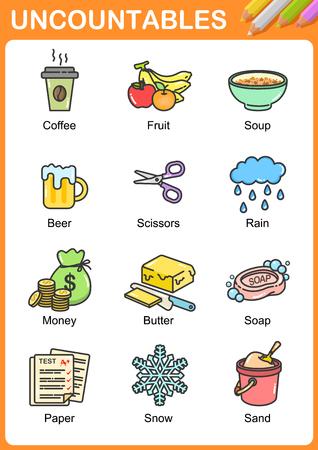 Illustration pour Nouns the can be  uncountable - Worksheet for education. - image libre de droit