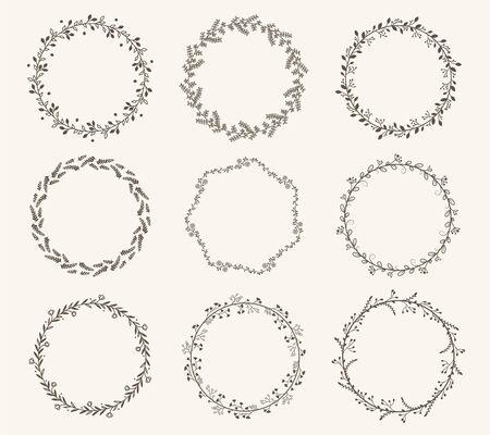 Illustration pour Vector set of border circle frame - image libre de droit