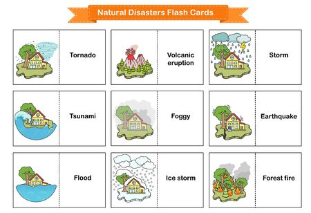 Illustration pour Natural Disasters Flash Cards - Collection оf cataclysms volcanic eruption and snow avalanche and flood. Flashcards for education. - image libre de droit