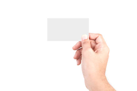 Photo pour Male Caucasian hand gestures isolated over the white background. HAND Holding CARD. - image libre de droit