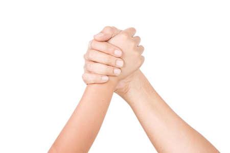 Photo pour Man and Boy Arms in arm-wrestling competition - image libre de droit