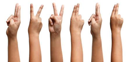 Photo pour GROUP OF Boy Asian hand gestures isolated over the white background. Two Fingers Victory Sign. Gun symbol - image libre de droit
