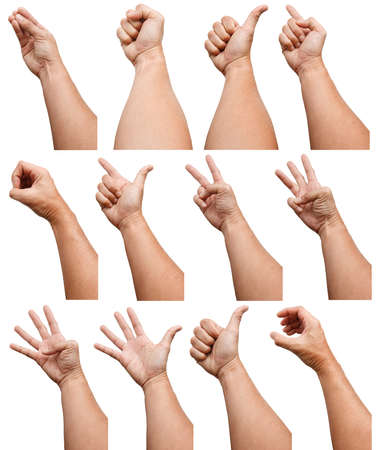 Photo for Male Asian hand gestures isolated over the white background. Counting Action. Touch Action. Touch Small Thing. - Royalty Free Image