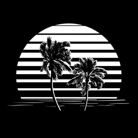 Illustration for Summer holiday design. Tropic sunset. Palm trees silhouettes on black and white stripes. Minimalistic style - Royalty Free Image