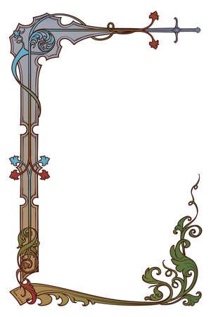 Illustration pour Medieval manuscript style rectangular frame. Vertical orientation. EPS10 vector illustration - image libre de droit