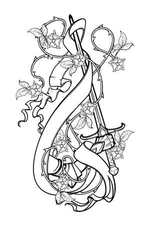 Illustration pour Hand holding a sword decorated with rose garland and banner. Black and white drawing isolated on white background. EPS10 vector illustration - image libre de droit