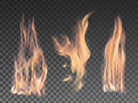 Set of realistic fire flames on transparent background. Special effects. Vector illustration. Translucent elements. Transparency grid.