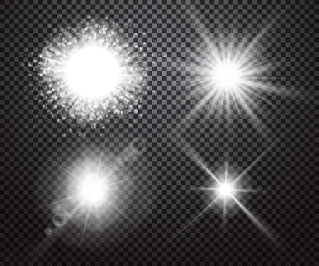 Ilustración de Set of glowing lights effects isolated on transparent background. Special effects with transparency. Glowing lights, lens flares, rays, stars, sparkles and bokeh collection. Vector illustration - Imagen libre de derechos