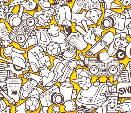 Graffiti seamless pattern with urban lifestyle line icons. Crazy doodle abstract vector background. Trendy outline style collage with bizarre street art elements. Adult coloring book design template