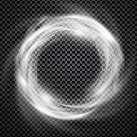 Illustration pour Vector light effect on transparent background. Glowing cosmic vortex or smoke ring illustration. - image libre de droit