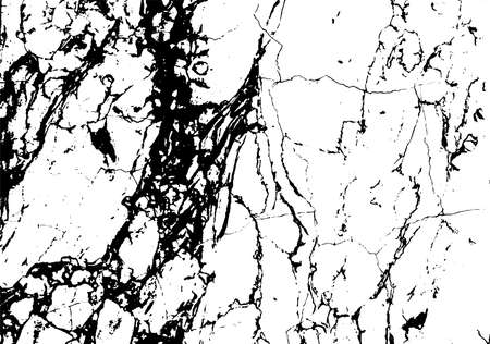 Black marble cracks vector grunge texture overlay. Natural stone pattern isolated on white background.