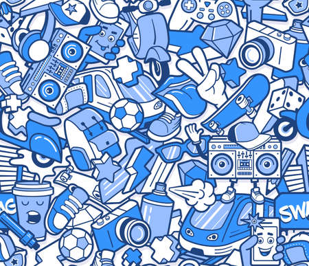 Ilustración de Graffiti seamless pattern with urban lifestyle line icons. Crazy doodle abstract vector background. Trendy linear style collage with bizarre street art elements. - Imagen libre de derechos