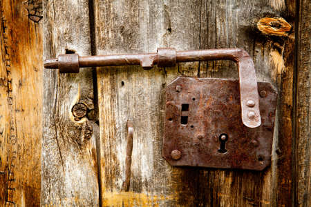 Photo for antique latch on larch door details - Royalty Free Image