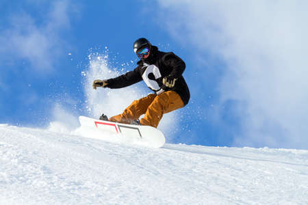 Photo for jump with snowboard in fresh snow - Royalty Free Image